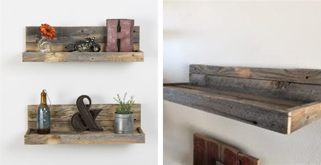 - Reclaimed Wood Floating Shelves Set Jane