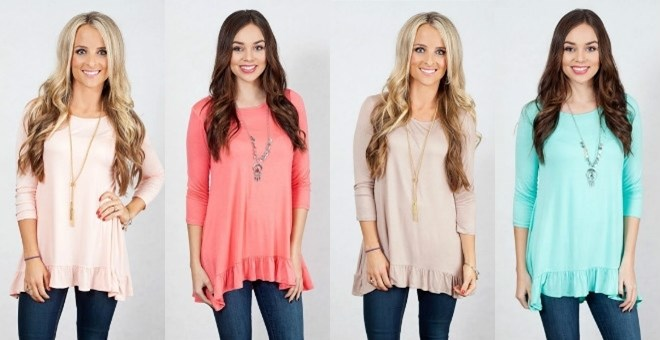 Image of 3/4 Sleeve Ruffle Tunic!