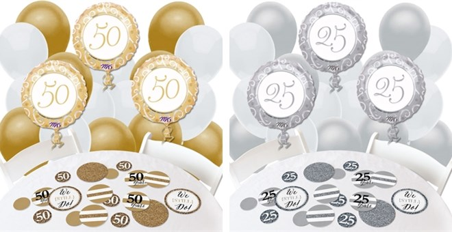 Image of 25th or 50th Wedding Anniversary Combo Kits - Balloon and Confetti (2