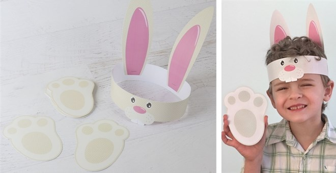 Diy easter bunny hat paw print craft kit jane for Easter bunny hat template