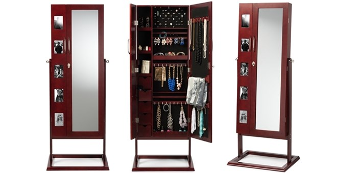 Free Shipping Mirror Jewelry Armoire Double Doors Jane
