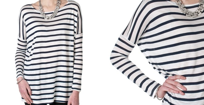 Cherish Womens Navy & White Striped Shirt | Jane
