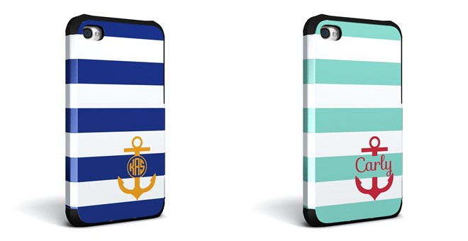 Monogrammed Nautical Stripe Cell Phone Cases : Jane