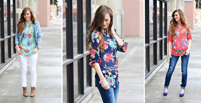 So Perla's Large Floral Print Top