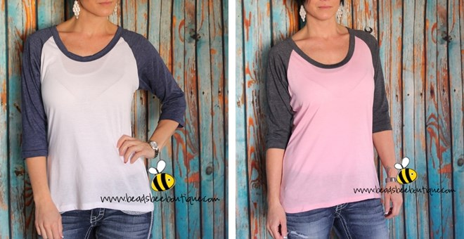 Brand New Baseball Top! - 6 Color Combinations
