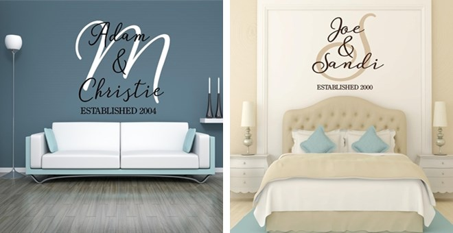Personalized names and initial wall decal jane for Personalized home decor