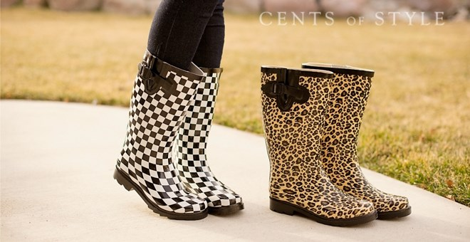 Fantastic Womens Rain Boots in Leopard or Checkerboard!