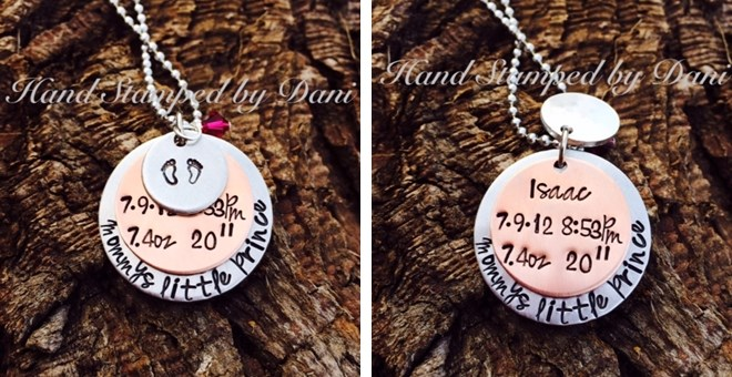 Show off your kids 3 layered Mommys necklace with birthstone