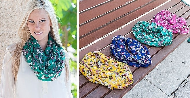 Flower Blossom Infinity Scarf  - 4 COLORS