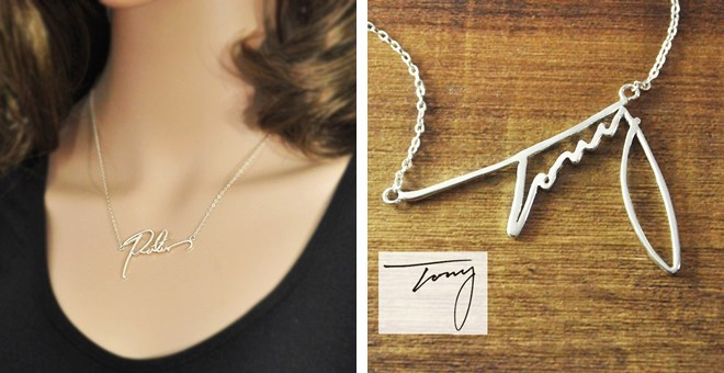 Pure Sterling Silver signature necklaces (Your hand writing)