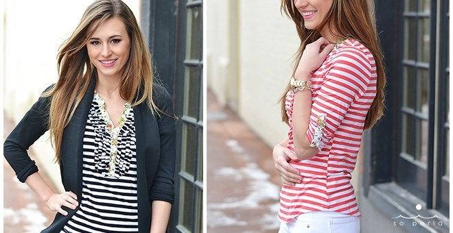 Ruffled Rtripes and Floral Henley