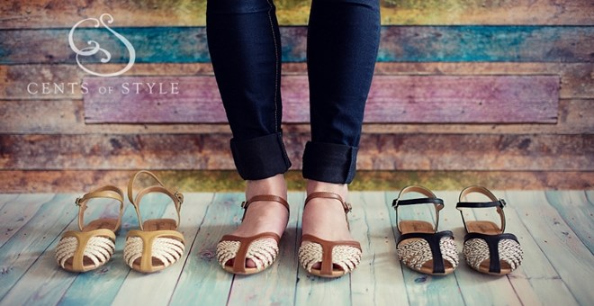 Two Tone Strappy Flats in 3 Colors!