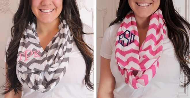 THEY'RE BACK!!!  Personalized Chevron Infinity Scarves