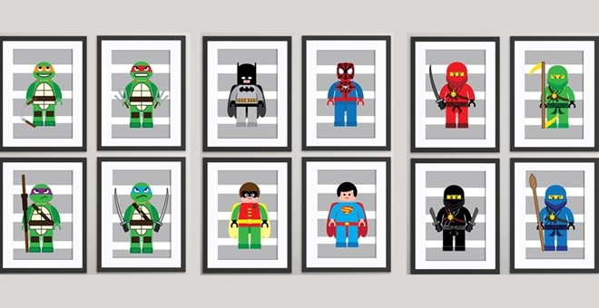 4 NEW themes LEGO inspired childrens wall art prints set of 4