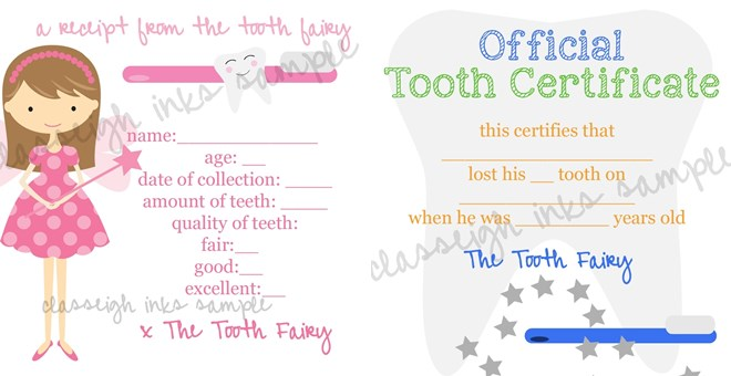 Tooth Fairy Notes PRINTABLE FILE