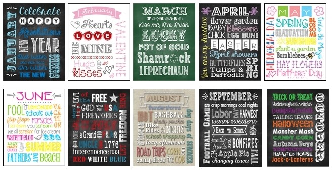 Monthly Subway Art Home Decor Prints | Chalkboard and ...