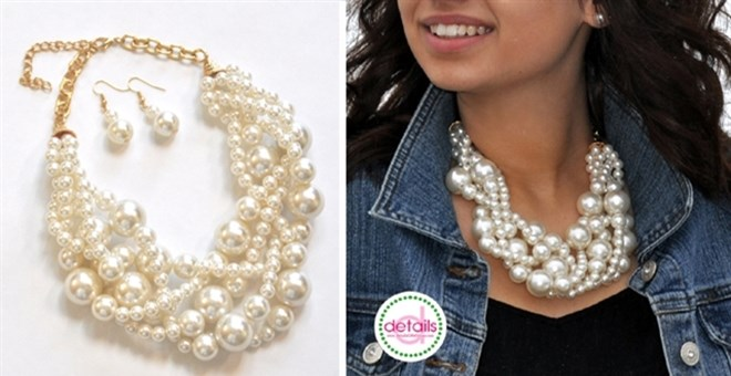 Classic Pearl Twist Statement Necklace. BONUS Earrings!