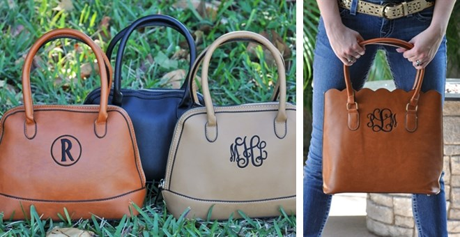 Monogrammed Scalloped  and Shell Totes / Purses
