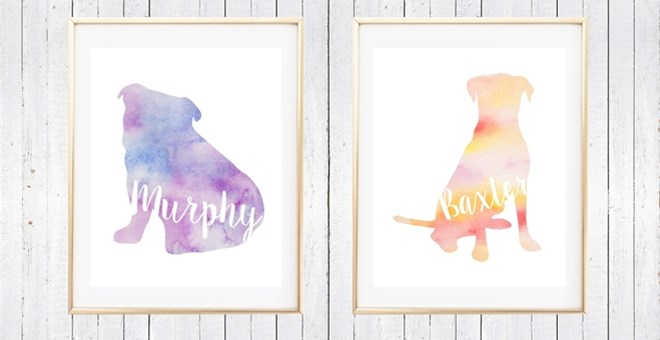 personalized watercolor dog art jane