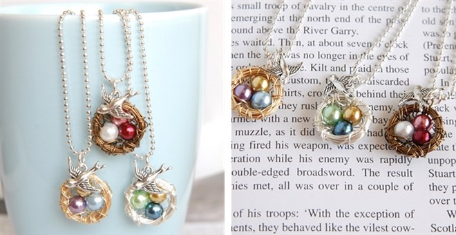 Mama Bird Wire Nest Necklace | Gold, Bronze or Silver Wire