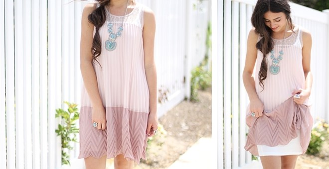 Pleated Lace Dress- Cami-Slip Included