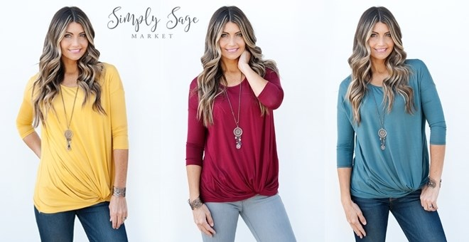 3/4 Sleeve Knot Tunic | 5 Colors