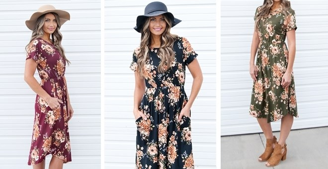 Fall Floral Dress with Pockets