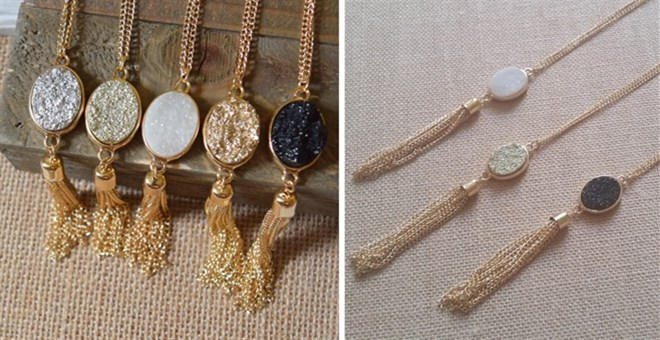 Oval Druzy Tassel Necklace