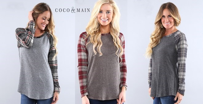 Plaid Knit Baseball Tees | S-XL