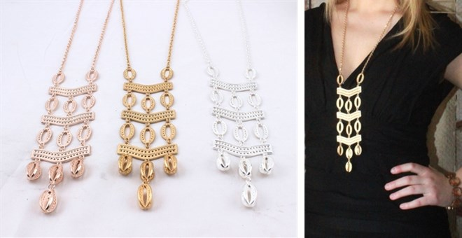 On Trend Long Layer Ladder Necklace!