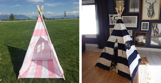 Striped Canvas Teepee / 2 Options