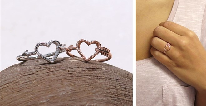Heart & Arrow Ring | Solid Sterling Silver | Jane