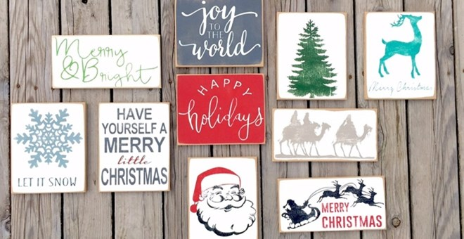 Christmas home decor signs distressed jane for Home bargains christmas decorations