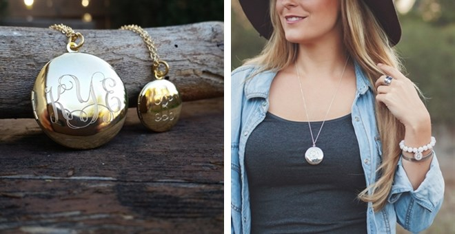 Engraved Monogram Locket Necklaces