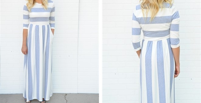 Heather Stripe 3/4 Sleeve Maxi Dress