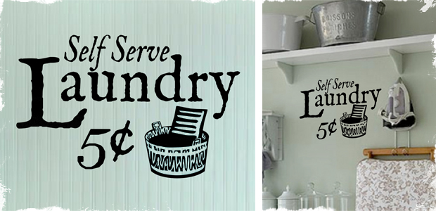 Cute Vintage Vinyl Laundry Sign