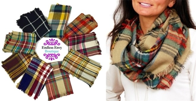 Plaid Infinity Blanket Scarf | 24 Colors