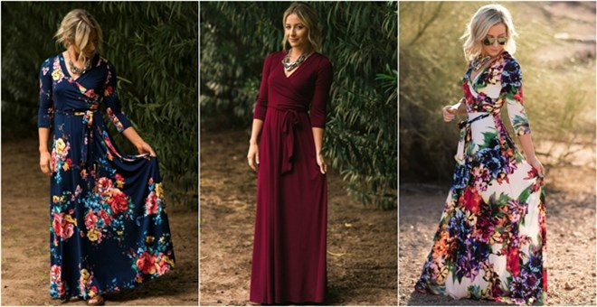 Luxury Maxi Wrap Dress | Floral and Solid
