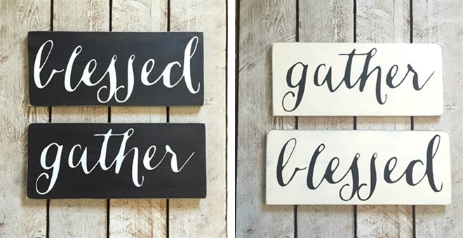 rustic gather or blessed wooden sign jane