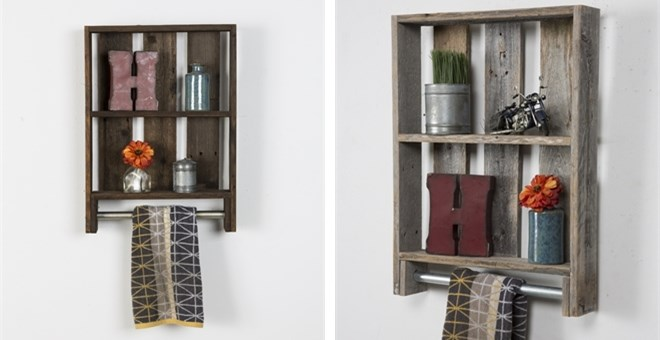 Reclaimed Wood Bathroom Shelf | Towel Rod