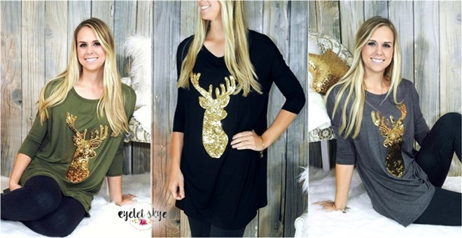 Sequin Reindeer Tunic | S-XL