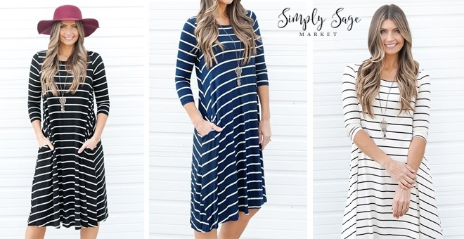 3/4 Sleeve Striped Dress | 6 Colors