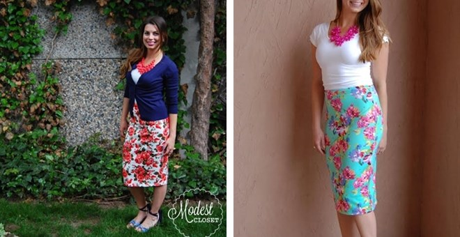 High Waisted Floral Pencil Skirt S-3XL | Jane