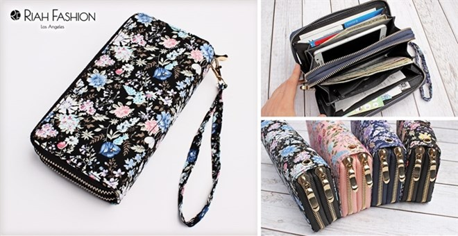 Floral Double Zipper Wallet | 4 Colors