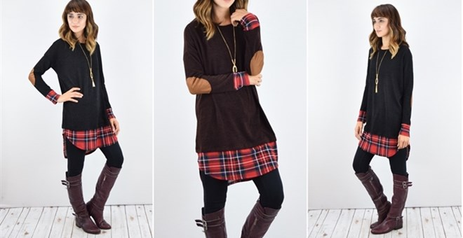 Knit Plaid Suede Patch Tunic | S-XL