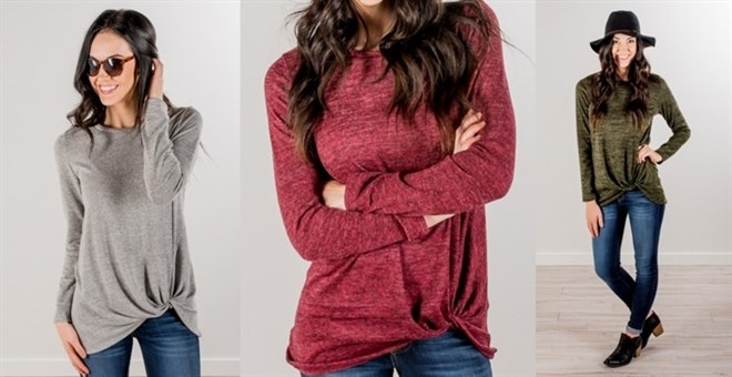 Heathered Knot Detail Top!