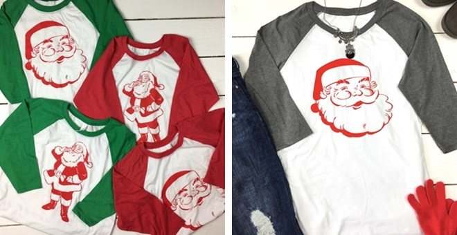 Vintage Santa Raglan Tees | Youth & Adult Sizes!