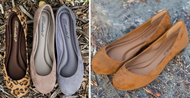 Round Toe Gel Insole Flats   13 Colors
