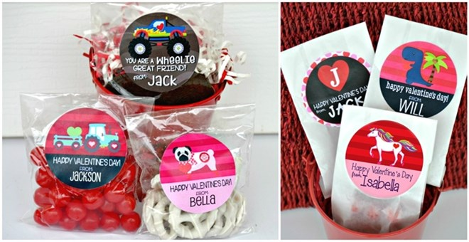 Personalized Valentine Stickers & Bags
