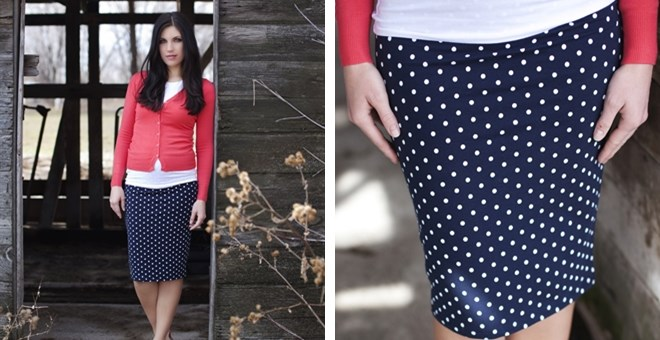 Navy Polka Dot Pencil Skirt | Jane